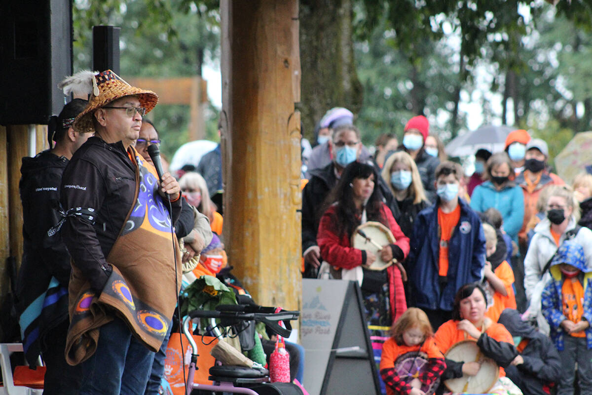 Chief Johnny Williams, elected leader of Sq'ewlets, speaks to the crowd. Patrick Penner photo.