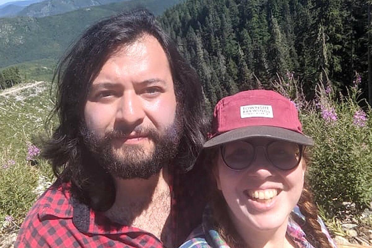 Josue Anderson and Erin Anderson near Fairy Creek on April 10, 2021. (Erin Anderson)