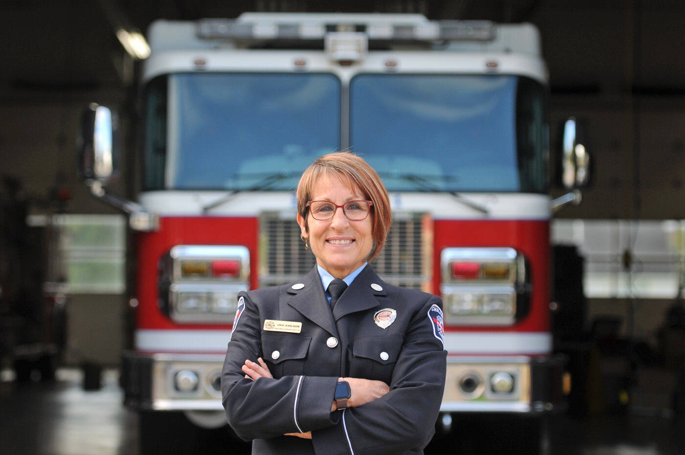 Lt. Lisa Axelson was named Public Educator of the Year by the Fire Prevention Officers' Association of B.C. She is picture here at Hall No. 1 on Friday, Oct. 1, 2021. (Jenna Hauck/ Chilliwack Progress)