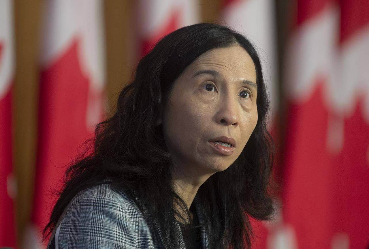 Chief Public Health Officer Theresa Tam speaks during a technical briefing on the COVID pandemic in Canada, Friday, January 15, 2021 in Ottawa. The Public Health Agency of Canada says it's working with other governments still dubious about allowing Canadians with mixed doses travel across their borders without quarantining. THE CANADIAN PRESS/Adrian Wyld
