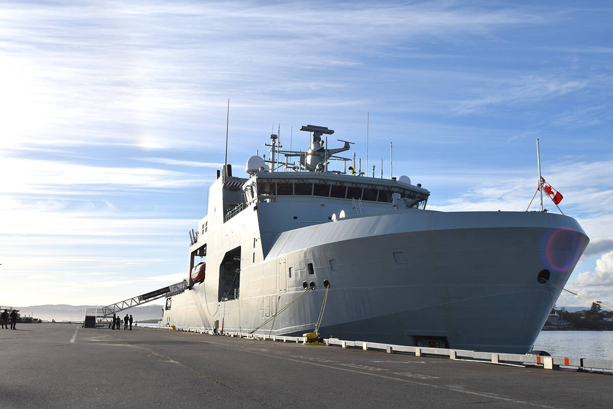 HMCS Harry DeWolf docked at Ogden Point Oct. 3, after completing its maiden operation in Nunavut waters. (Kiernan Green/News Staff)
