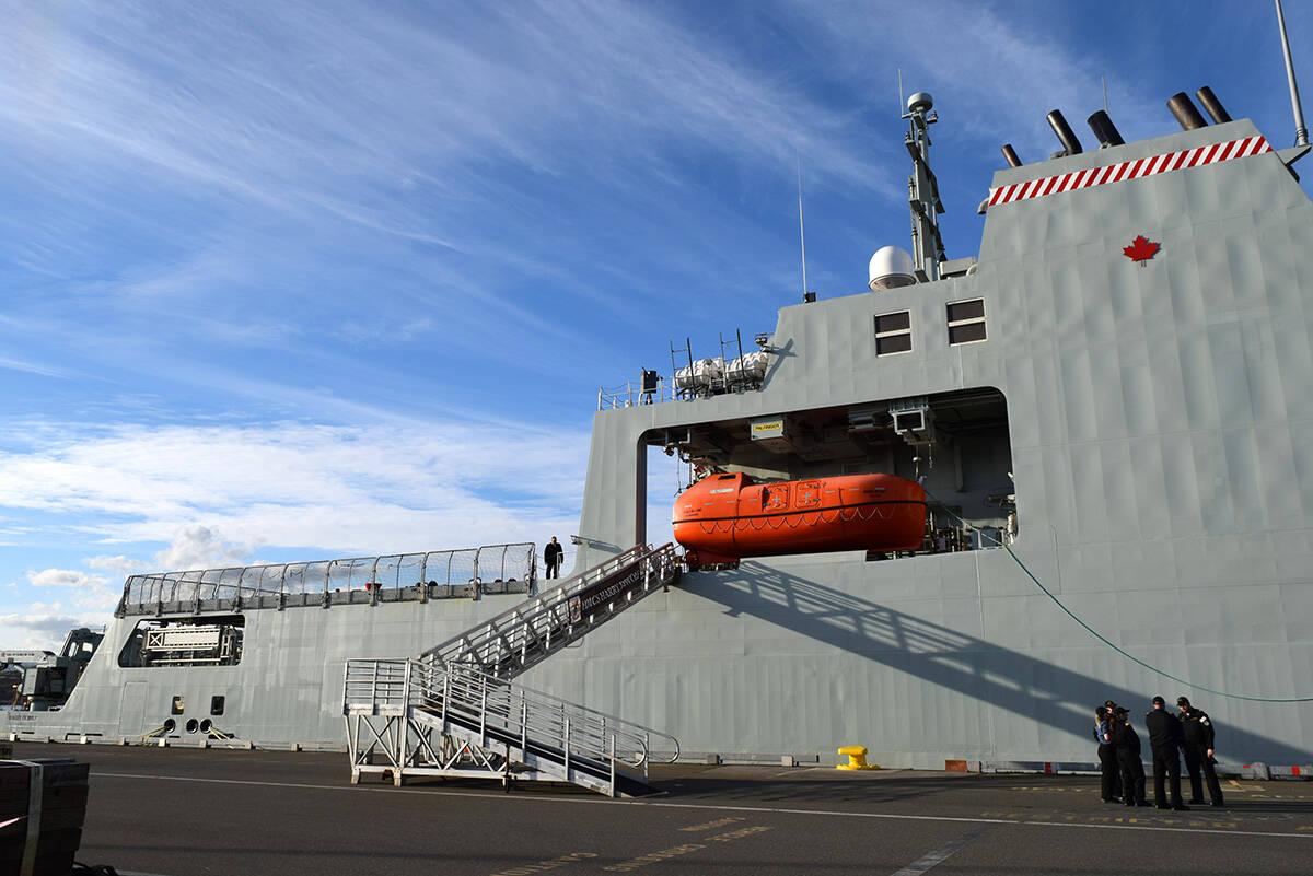 HMCS Harry DeWolf's starboard lifeboat. The vessel docked at Ogden Point Oct. 3. (Kiernan Green/News Staff)