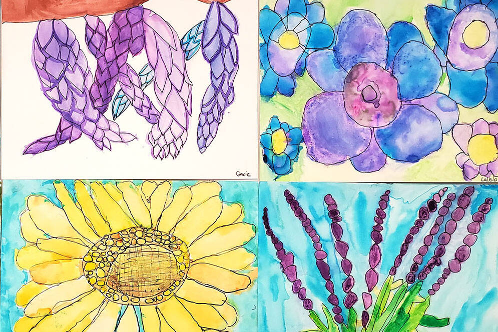 Some of the floral watercolour paintings created by Debbie Mar's Grade 3 students at Upper Sumas Elementary. (Submitted photo)