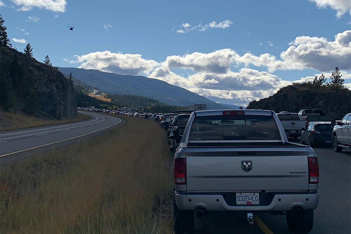 A vehicle incident closed down Highway 5 (Coquihalla) near Merritt. (James P/Twitter)