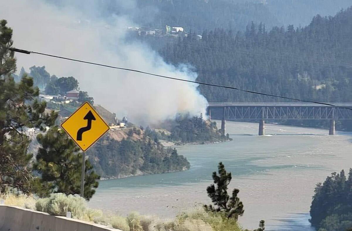 Wildfire in Lytton, B.C., seen on June 30, 2021. (@guyatsfu/Twitter)