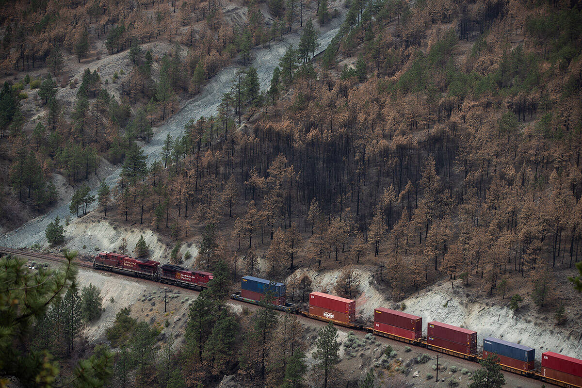 A Canadian Pacific freight train travels on tracks covered with fire retardant in an area burned by wildfire above the Thompson River near Lytton, B.C., on Sunday, August 15, 2021. THE CANADIAN PRESS/Darryl Dyck
