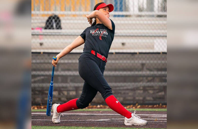 Chilliwack's Brooklyn Morrison watches the ball leave the yard after taking the winning swing in the Minot State Beavers softball homerun derby. (submitted photo)