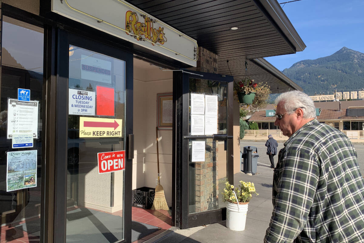 Hope resident Frank Granovski ordered takeout from Rolly's Restaurant in Hope on Oct. 19, 2021, saying it may be his last burger there if the business closes for good. (Jessica Peters/ Hope Standard)