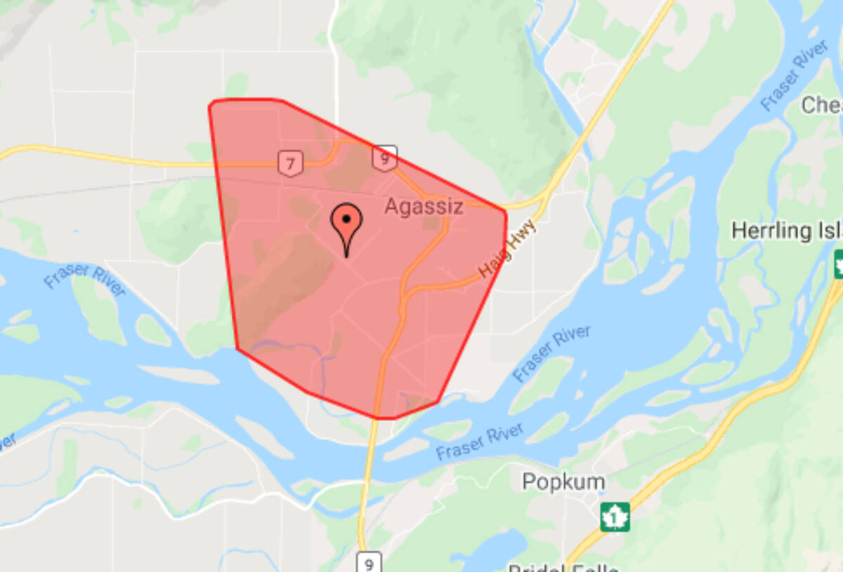 Much of Agassiz was in the dark following a motor vehicle crash in the Ashton Road area of Lougheed Highway. Emergency personnel and B.C. Hydro crews rushed to the scene. (Adam Louis/Observer)